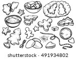 sketch set with forms for... | Shutterstock .eps vector #491934802