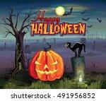 happy halloween | Shutterstock .eps vector #491956852