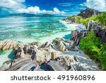 the most beautiful beach of... | Shutterstock . vector #491960896