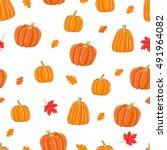 seamless autumn pattern. vector ... | Shutterstock .eps vector #491964082