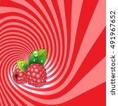 striped spiral raspberry... | Shutterstock .eps vector #491967652