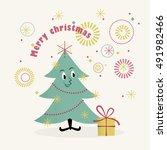 retro christmas illustration of ... | Shutterstock .eps vector #491982466