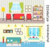 illustration set home interiors.... | Shutterstock .eps vector #491984332