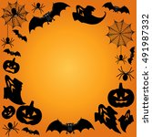 halloween background. vector... | Shutterstock .eps vector #491987332