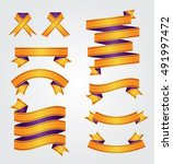 ribbons. set of yellow vector... | Shutterstock .eps vector #491997472