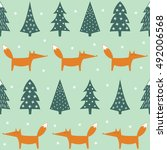 fox  xmas trees and snowflakes... | Shutterstock .eps vector #492006568
