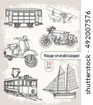 transport. vintage set | Shutterstock .eps vector #492007576
