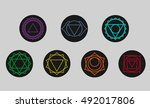set of seven chakras icons.yoga ... | Shutterstock .eps vector #492017806