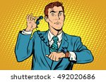 gadget wrist watch phone pop... | Shutterstock .eps vector #492020686