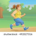 overweight girl is jogging.... | Shutterstock .eps vector #492027316