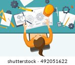 engineering and architecture... | Shutterstock .eps vector #492051622