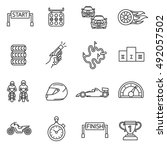 racing icons setd line style.... | Shutterstock .eps vector #492057502