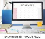 november monthly calendar... | Shutterstock . vector #492057622
