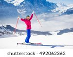 young active woman skiing in... | Shutterstock . vector #492062362