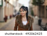 beautiful young woman in the... | Shutterstock . vector #492062425