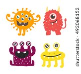 cute monster color character... | Shutterstock .eps vector #492068152