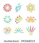 festive firework bursting shape ... | Shutterstock .eps vector #492068215