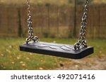 empty children swing on chains... | Shutterstock . vector #492071416
