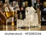 serving a good whiskey on the... | Shutterstock . vector #492085246