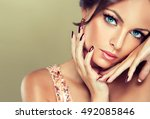 beautiful model girl with pink... | Shutterstock . vector #492085846