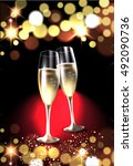two glasses of champagne... | Shutterstock .eps vector #492090736