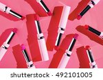 flat lay fashion with lipsticks ... | Shutterstock . vector #492101005