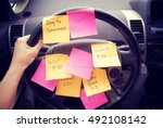 steering wheel covered in notes ... | Shutterstock . vector #492108142