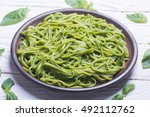 pasta with spinach pesto sauce  ... | Shutterstock . vector #492112762
