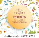 thanksgiving card floral... | Shutterstock .eps vector #492117715