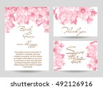 invitation with floral... | Shutterstock . vector #492126916