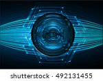 future technology  blue silver... | Shutterstock .eps vector #492131455