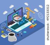 database storage server.... | Shutterstock .eps vector #492133312