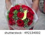 Stock photo red rose bouquet with copy space 492134002