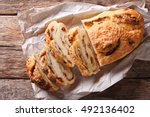 sliced bread stuffed with... | Shutterstock . vector #492136402