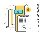 color line  invoice  bill... | Shutterstock .eps vector #492143002