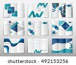 blue fold set technology annual ... | Shutterstock .eps vector #492153256