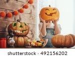 happy halloween  cute little... | Shutterstock . vector #492156202