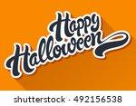happy halloween hand drawn... | Shutterstock .eps vector #492156538