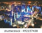 double exposure of business... | Shutterstock . vector #492157438