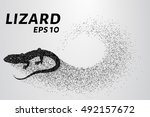 lizard of particles. silhouette ... | Shutterstock .eps vector #492157672