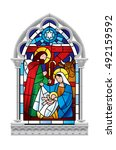 stained glass window depicting... | Shutterstock .eps vector #492159592