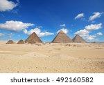 pyramids in giza  | Shutterstock . vector #492160582
