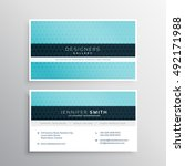 blue company business card with ... | Shutterstock .eps vector #492171988