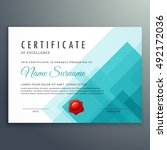 certificate of excellence... | Shutterstock .eps vector #492172036