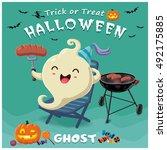 vintage halloween poster design ... | Shutterstock .eps vector #492175885