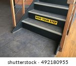 mind your step  caution sign. | Shutterstock . vector #492180955