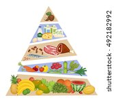 food pyramid. fruits ... | Shutterstock .eps vector #492182992