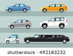 different passenger car vector. ... | Shutterstock .eps vector #492183232