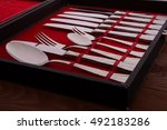 cutlery set in a red case