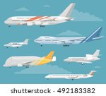 passenger and cargo airplane... | Shutterstock .eps vector #492183382